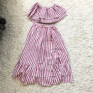 Dresses & Skirts - Striped pink and white set